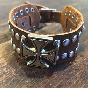 Lot of 6! Real Leather Cuff with Metal Cross